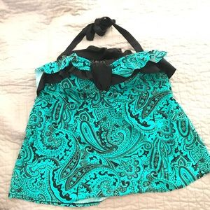 Teal paisley swim top